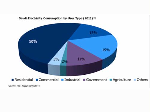 Saudi Electricity Consuption by User Type 2011