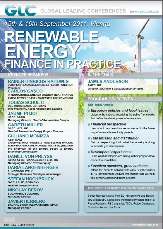 Global Leading Conferences Renewable Energy Finance in Practice 2nd Anual