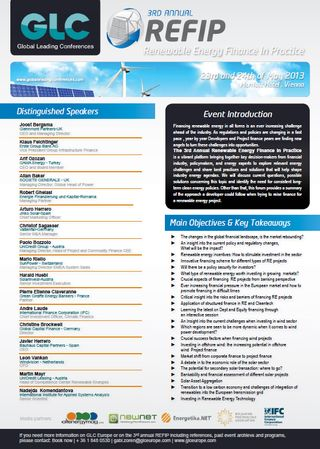 Global Leading Conferences Renewable Energy Finance in Practice 3rd Anual