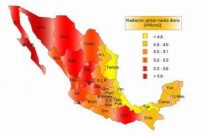 Mexico's solar radiation map